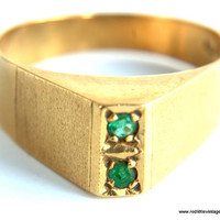 18k Gold Ring  with Two Colombian Emeralds-- Size 7  Vintage Gold Ring