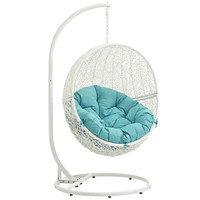 LexMod Hide Outdoor Patio Swing Chair in White Turquoise
