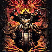 """Royal Plush Extra Heavy Queen Size Mink Blanket - Grim Reaper on Bike - Skull Collector (79"""" x 85"""")"""