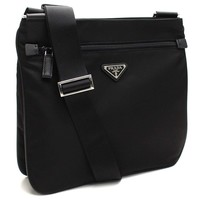 Prada Black Tessuto Nylon & Saffian Leather Crossbody Messenger Travel Bag 2VH563