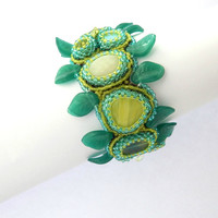 beaded bracelet Ivy - mint turquoise & green seed bead wide wrist jewelry - handmade herbal embroidered beadwork - ivy plant inspired