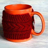 $9.93 Red knitted Mug Cozy. Coffee mug cozy cable pattern. Cup sleeve. Tea cozy. Silver button - Bestie.com