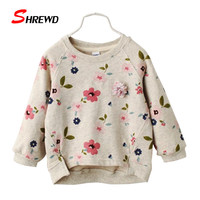 Kids Hoodies Girl 2016 Autumn New Fashion Flower Printing Toddler Girl Sweatshirt O-neck Long Sleeve Casual Kids Clothes 3298W