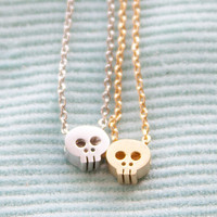 Tiny Skull Necklace - Mini Small Gold or Silver Sugar Skull Pendant Dainty Everyday Charm Jewelry