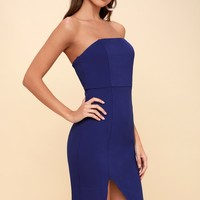 Jazzie Royal Blue Strapless Bodycon Dress