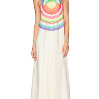 Mara Hoffman Embroidered Cut Out Maxi Dress in Beige