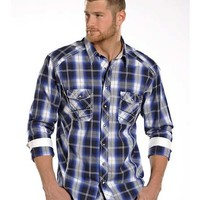 Men's Satin Plaid with Embroidery Stitching Shirt
