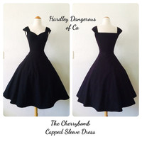 Sale, The CHERRYBOMB Capped Sleeve Dress, Sexy Casual ROCKABILLY Cotton Knit Bridesmaid Wedding Special Occasion Semi Formal