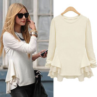 Waves Hem Long Sleeve Shirt