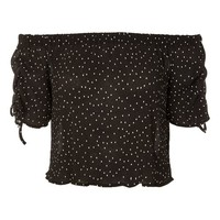 Spot Drawstring Sleeve Bardot Top