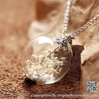 Nature Inspired Jewelry Real Dried Clover Necklace Pendant Gift (HM0065)