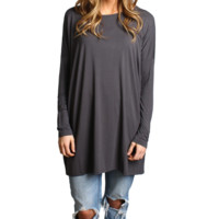Dark Gray Piko Long Sleeve Tunic