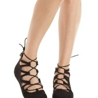 Black Lace-Up Pointy Toe Flats by Charlotte Russe