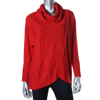 NY Collection Womens Knit Cowl Neck Tunic Sweater