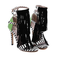 Gladiator sandals women pumps suede tassel fringe