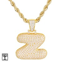 """Jewelry Kay style Z Initial Custom Bubble Letter Gold Plated Iced CZ Pendant 24"""" Chain Necklace"""