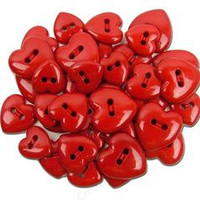 Valentine,s Hearts Plastic  Buttons - Sewing Supplies