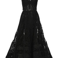 Elie Saab - Paneled tulle, lace and chiffon gown