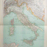 Antique Map of Italy - 1890 Large map of Italy