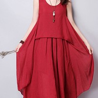 Casual Round Neck Asymmetric Hem Plain Cotton/Linen Maxi Dress