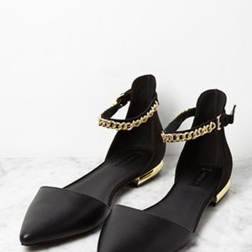 Faux Leather Chain Ankle-Strap Flats