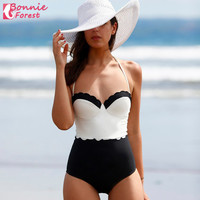 One Piece Swim wear Push Up Padded Contrast black and white lace swimsuit