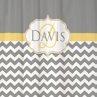 """Shower Curtain Cool Gray Chevron Monogram and Name YOU PICK Accent COLOR 69x70"""" Custom Personalized for your Bathroom"""