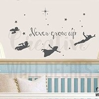 Vinyl Wall Decal Sticker Peter Pan Tinkerbell Never Grow Up Nursery Fairy r1902