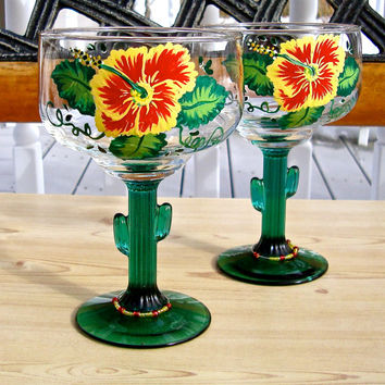 Hand Painted Cactus Margarita Glasses With A Glass Charm