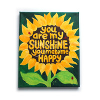 Art for Kids, YOU Are My SUNSHINE, Sunflower No.5, Original 8x10 Acrylic, Girls Room, Nursery Decor