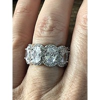A Museum Perfect 10.8TCW Oval Cut Halo Russian Lab Diamond Full Eternity Ring