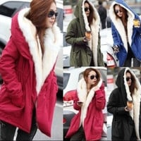 Stylish New Womens Fleece Warm Faux Fur Winter Coat Hooded Parka Overcoat Jacket = 1931963332