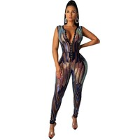Women Sexy Sleeveless Rainbow Sequined Fashion Jumpsuit