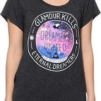 Glamour Kills Dreamers United Charcoal Drape Tee Shirt
