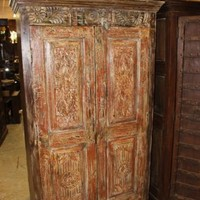 ANTIQUE Floral Hand Carved Indian Cabinet Double Door Solid Wood Armoire Storage