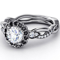 AMAZING 1.66CT WHITE ROUND 925 STERLING SILVER ENGAGEMENT AND WEDDING RING