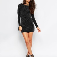 Rare   Rare Body-Conscious Dress in Glitter Fabric with Scoop Back at ASOS