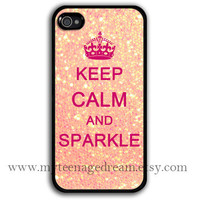 iphone 4 case, iphone 4s case, Keep Calm and sparkle Painting black hard case, pink sparkle iphone 4 case
