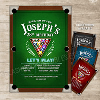 Pool Party Invitation Billiards Invitations Billiard balls Party Invite Pool table bachelor 21st 30th 40th 50th Birthday boys night out