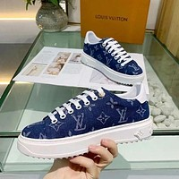 LV 2020 new denim canvas sneakers shoes