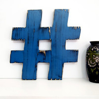 Wooden Hashtag (Pictured in Navy) Pine Wood Sign Wall Decor Rustic Americana French Country Chic