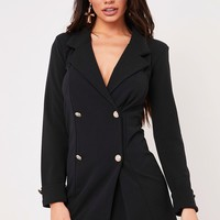 dominique black longline blazer dress