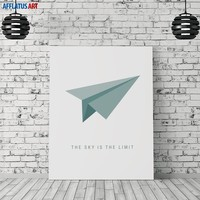 Paper Airplane Fly Higher Motivational Quotes Wall Art Canvas Painting Nordic Posters And Prints Wall Pictures Kids Room Decor