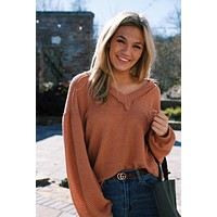 Wherever You Go Waffle Knit Top, Rust