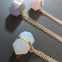 Opalite Amethyst Rose Quartz Nugget Crystal Point Necklace Gold Silver Chain Natural Purple Quartz Opalite Stone Simple Charm Pendant Choker