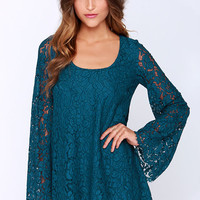 Chaser Rain or Shine Teal Blue Lace Shift Dress