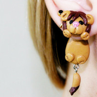 fake gauge plug two part Lion Earrings, Polymer Clay Adorable Jewelry,  Cute Pet Jewelry, Polymerclay, handmade
