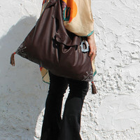 Large tribal leather chocolate brown tote oriental gypsy folk ethnical bohemian triangle shape hobo bag large brown oversized shopper tribal