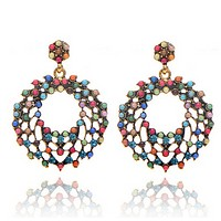 The new fashion big Bohemian wind bead color circle exaggerated big earrings