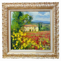 Italian painting Tuscany landscape n 4 of Bruno Chirici original oil Italia Italy Toscana + frame